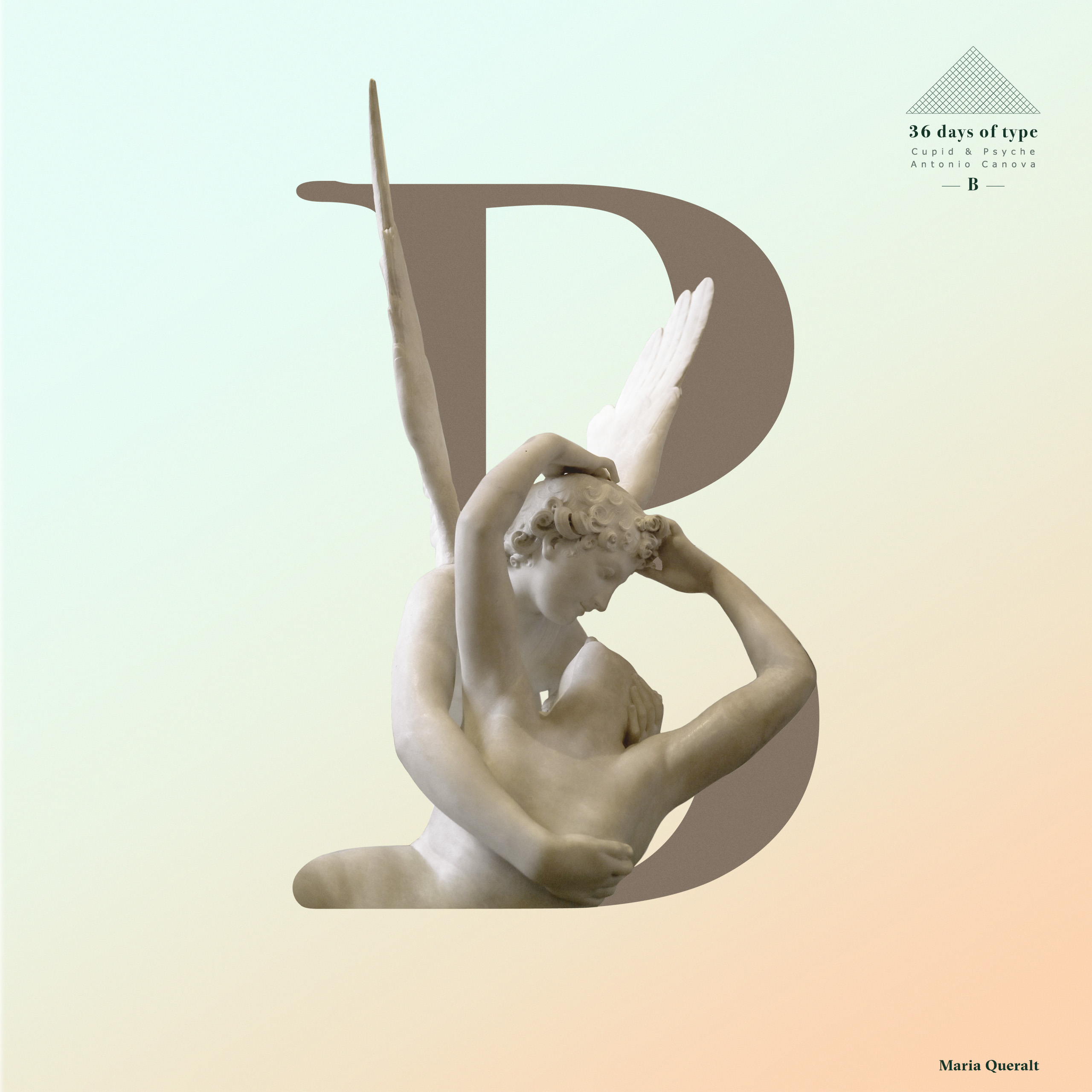 "Typography letter B of the Double Exposure Typography Set based on Antonio Canova's sculpture ""Psyche Revived by Cupid's Kiss "" for the 36 days of type project. Photography, art direction, concept, design and retouch by Maria Queralt. Louvre Museum, Paris."