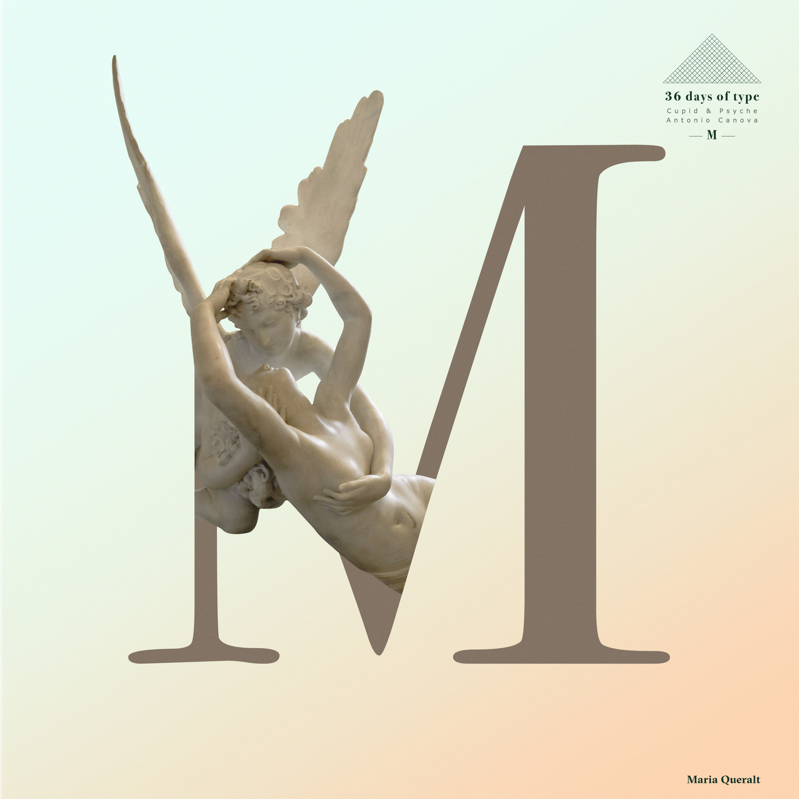 "Typography letter M of the Double Exposure Typography Set based on Antonio Canova's sculpture ""Psyche Revived by Cupid's Kiss "" for the 36 days of type project. Photography, art direction, concept, design and retouch by Maria Queralt. Louvre Museum, Paris."