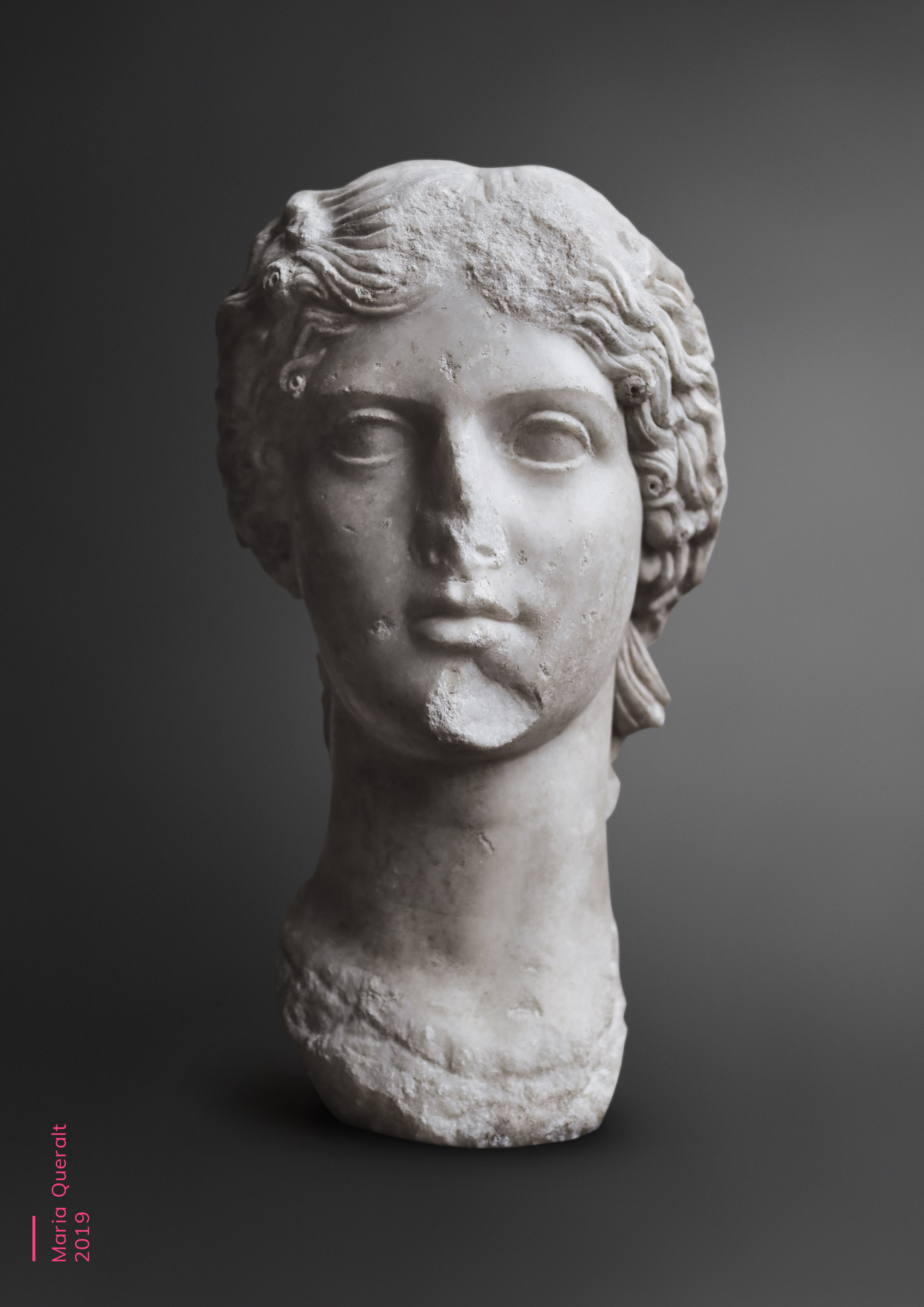 Sculpture of Agrippina the Elder, mother of Roman Emperor Caligula, Louvre Museum, Paris. Part of the Ancient Influencers Photography series by Maria Queralt. Photography and retouche by Maria Queralt