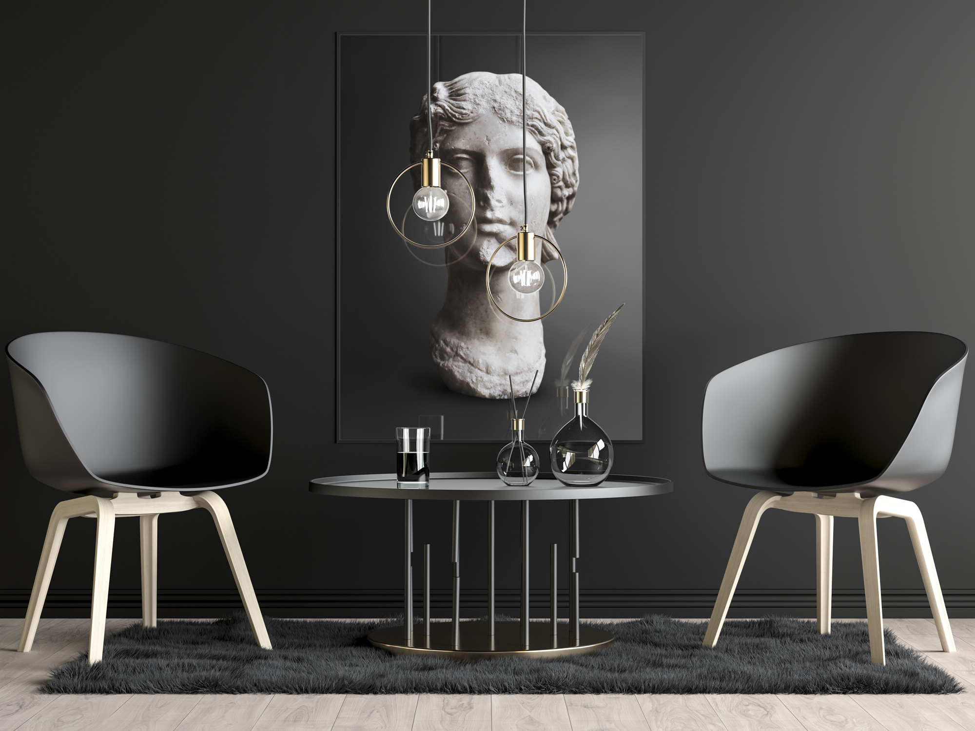 Photography of Framed photo on wall of the Sculpture of Agrippina the Elder, mother of Roman Emperor Caligula, part of house decoration table and two chairs. Part of the Ancient Influencers Photography series by Maria Queralt, Louvre Museum. Photography an