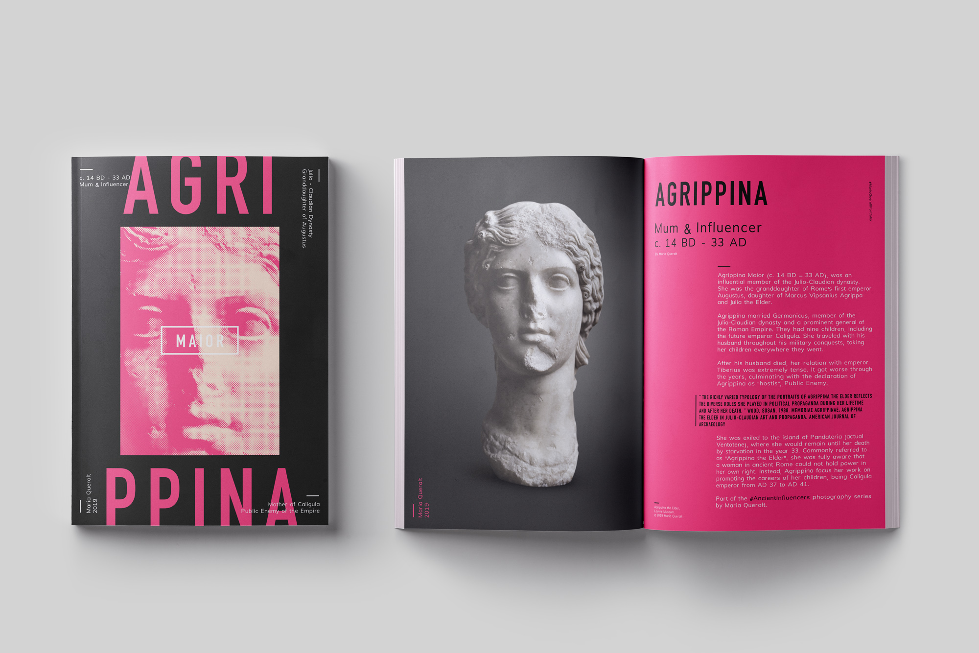 Magazine of the Sculpture of Agrippina the Elder, Part of the Ancient Influencers Photography series by Maria Queralt. Photography, design and art direction by Maria Queralt