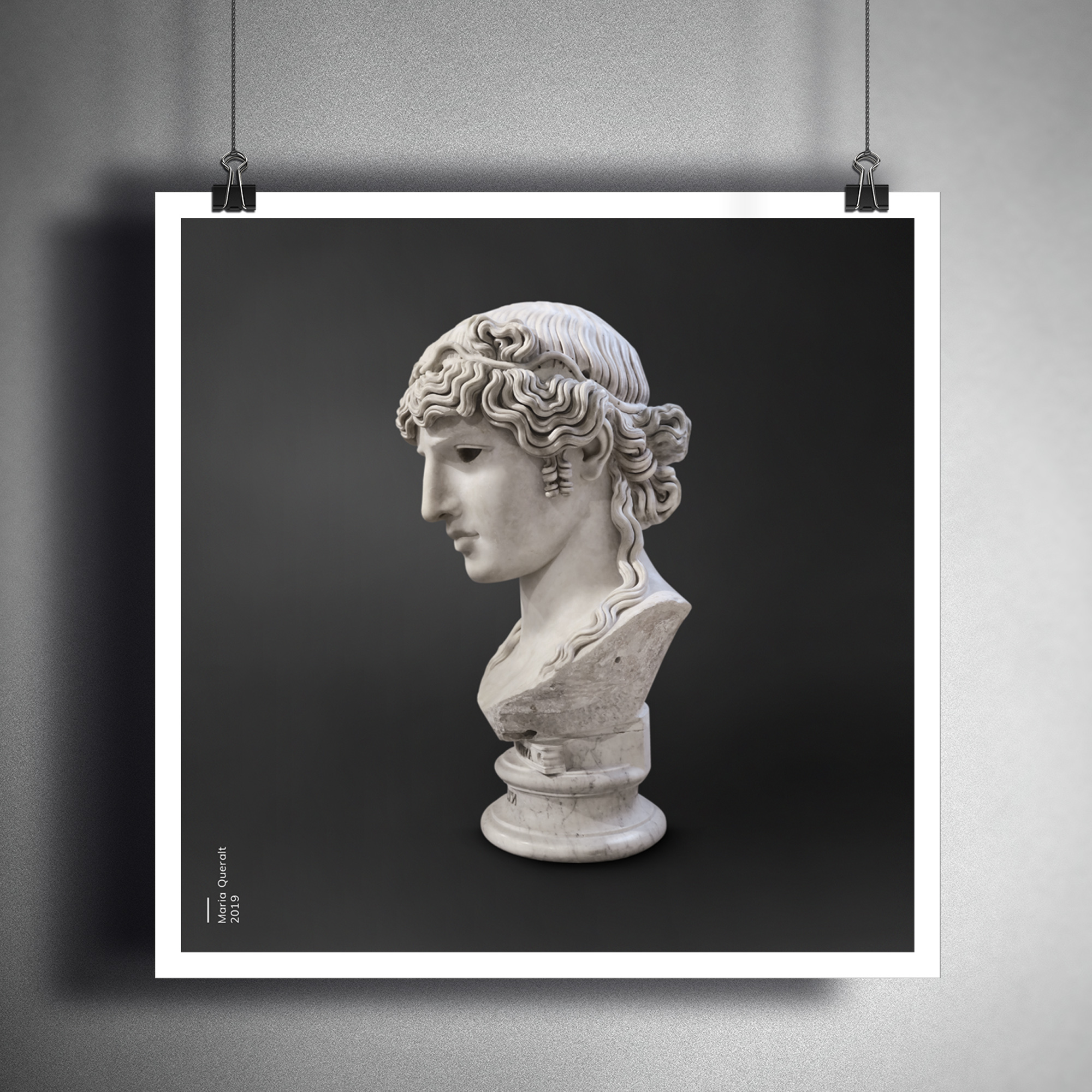 Framed photo on wall of the Sculpture of Antinous Mondragone, lover of Roman Emperor Hadrian, Louvre Museum, Paris. Part of the Ancient Influencers Photography series by Maria Queralt. Photography and retouche by Maria Queralt