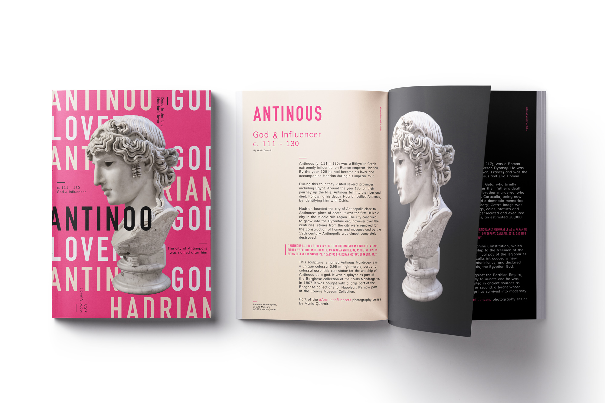 Magazine of Antinous Mondragone, lover of Roman Emperor Hadrian, Louvre Museum, Paris. Part of the Ancient Influencers Photography series by Maria Queralt. Photography and retouche by Maria Queralt