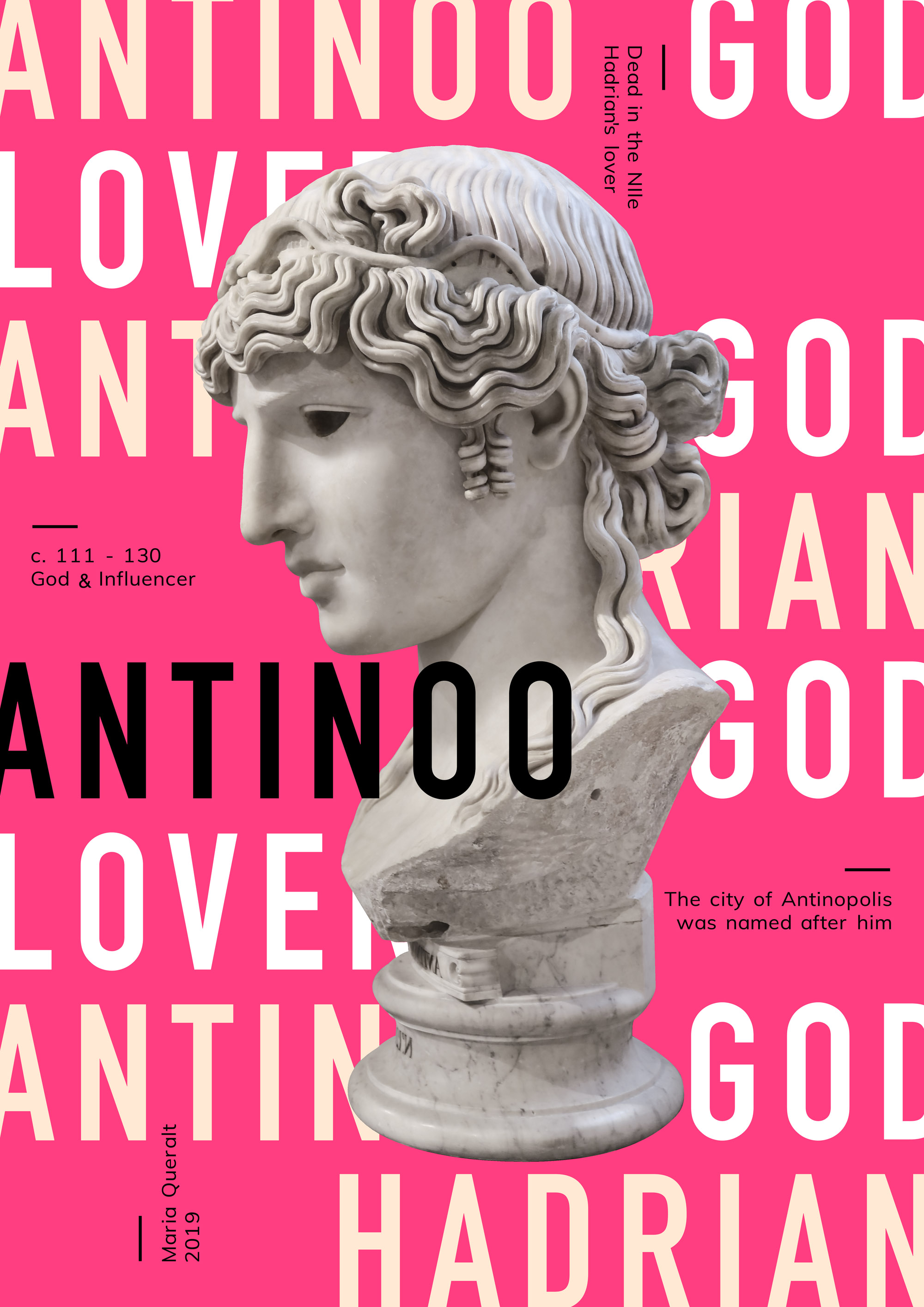Poster of the Sculpture of Antinous Mondragone, Part of the Ancient Influencers Photography series by Maria Queralt. Photography, design and art direction by Maria Queralt