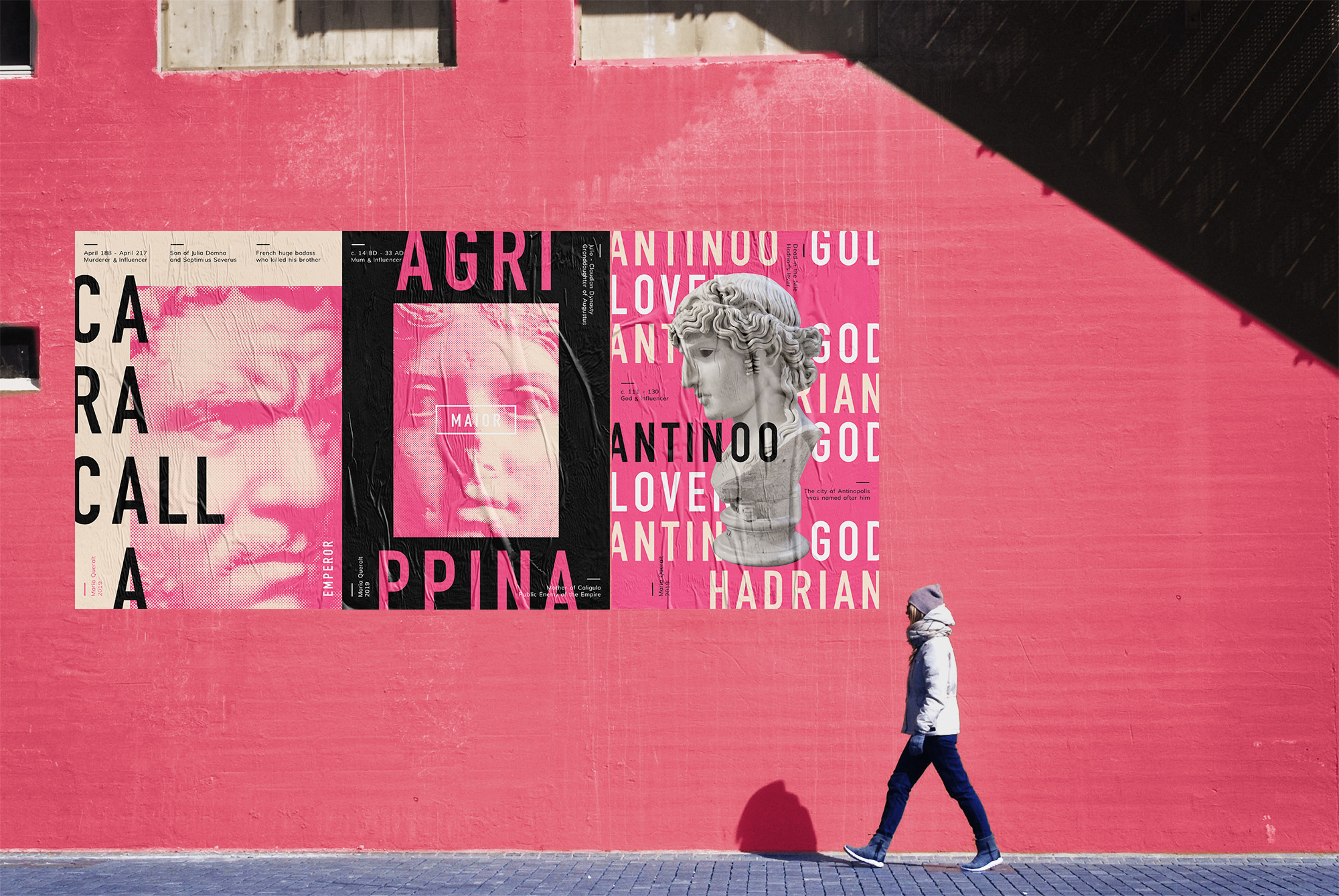 Photography of Street Wall Posters on pink street with pedestrian, part of Ancient Influencers Photography series by Maria Queralt of Roman Emperor Caracalla, Agrippina the Elder and Antinous. Photography, design and art direction by Maria Queralt