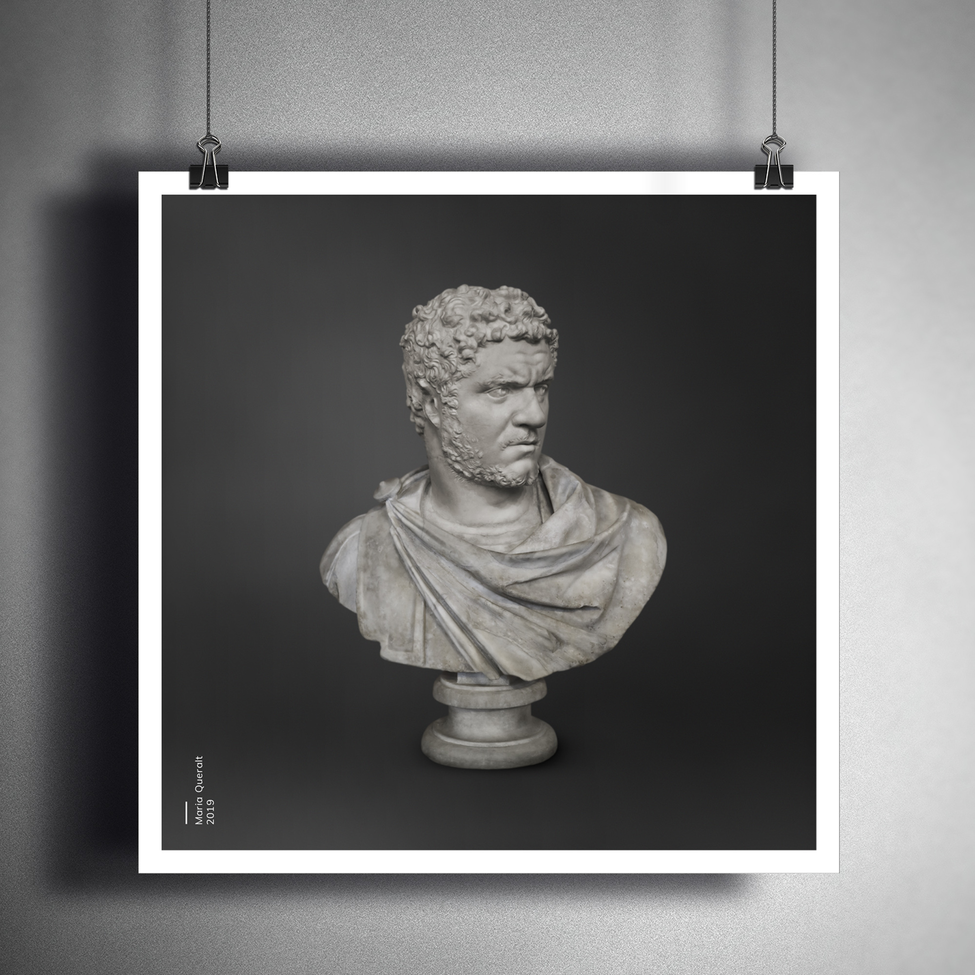 Framed photo on wall of the Sculpture of Roman Emperor Caracalla, Louvre Museum, Paris. Part of the Ancient Influencers Photography series by Maria Queralt. Photography and retouche by Maria Queralt