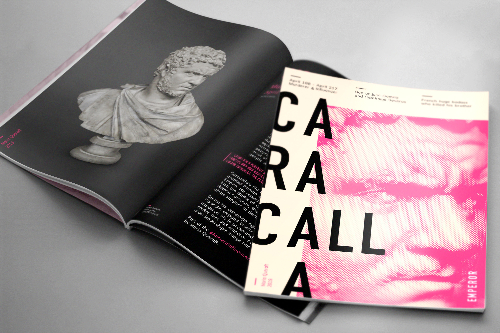 Magazine of the Sculpture of of Roman Emperor Caracalla, Part of the Ancient Influencers Photography series by Maria Queralt. Photography, design and art direction by Maria Queralt