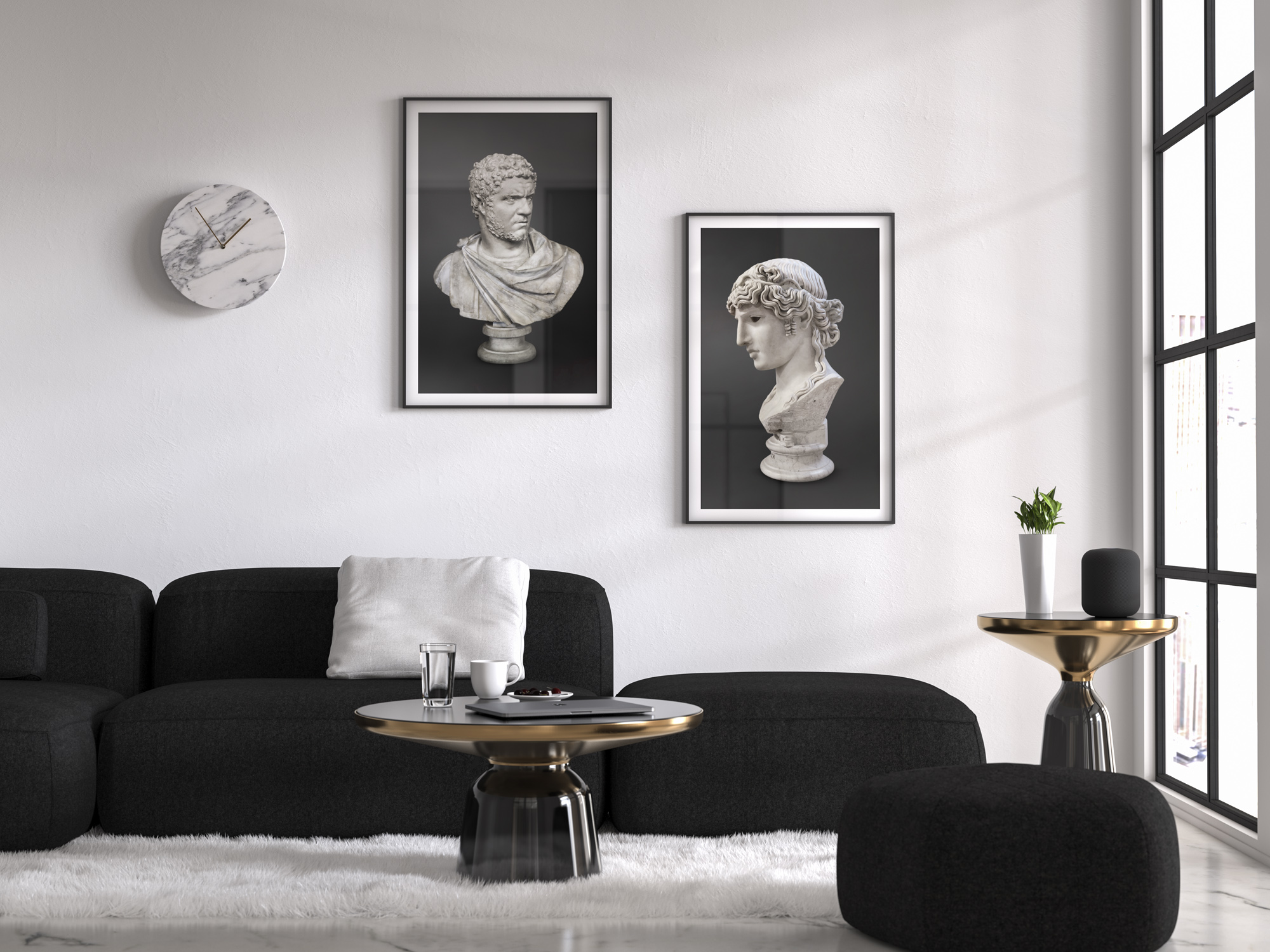 Framed photos on wall of Roman Emperor Caracalla and Agrippina the Elder, on black and white living room house decoration, part of Ancient Influencers Photography series by Maria Queralt. Photography, design and art direction by Maria Queralt