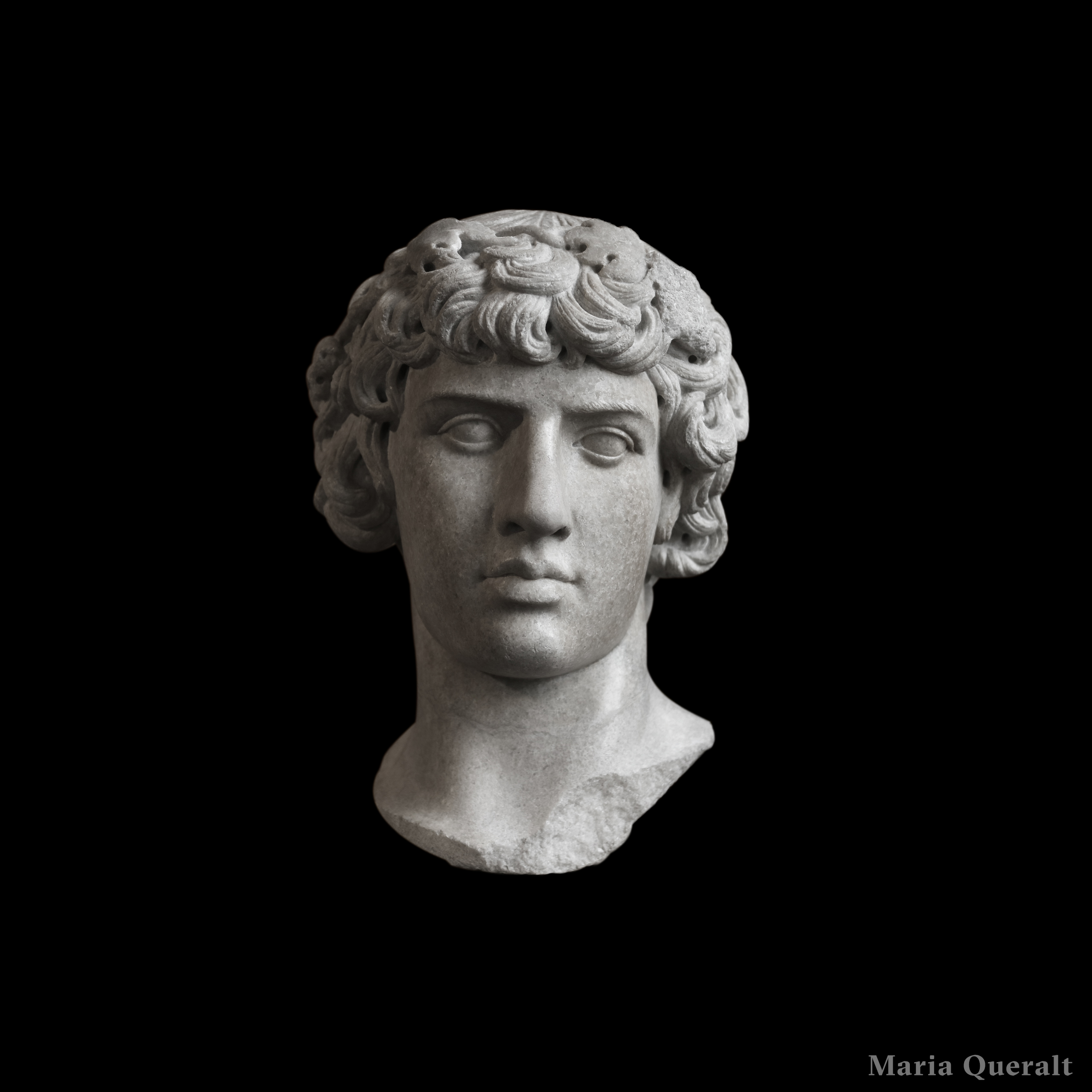 Bust Sculpture of Antinous Dionysos lover of Hadrian in marble placed at the Louvre Museum in Paris Photography and retouch by Maria Queralt