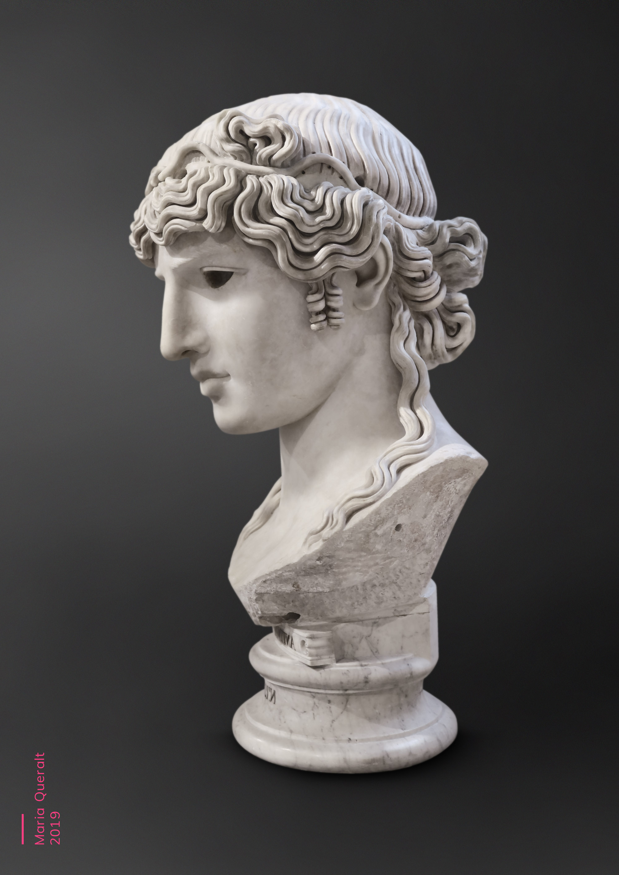 Sculpture of Antinous Mondragone, lover of Roman Emperor Hadrian, Louvre Museum, Paris. Part of the Ancient Influencers Photography series by Maria Queralt. Photography and retouche by Maria Queralt