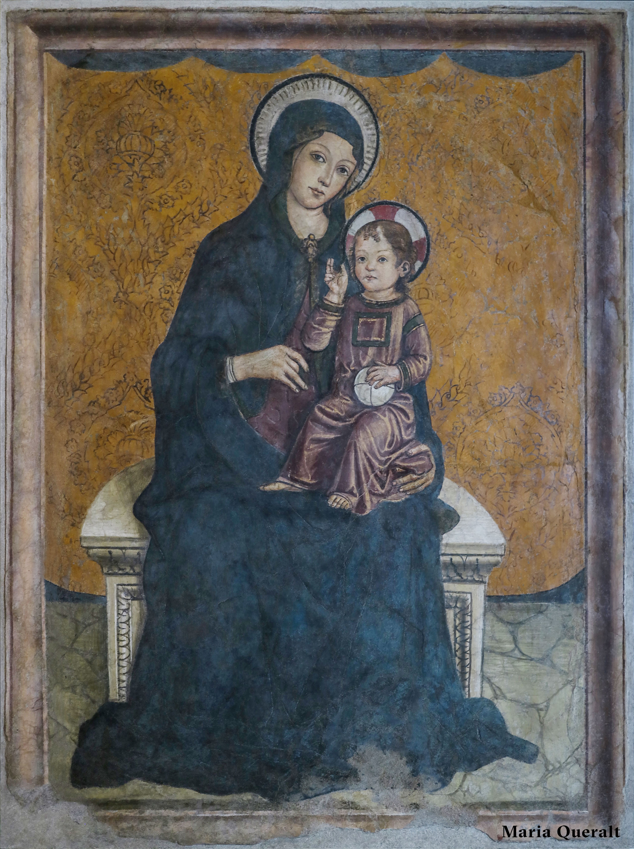 Medieval Painting of Enthroned Madonna and Child by Antoniazzo Romano at the Capitoline Museums in Rome Photography and retouch by Maria Queralt