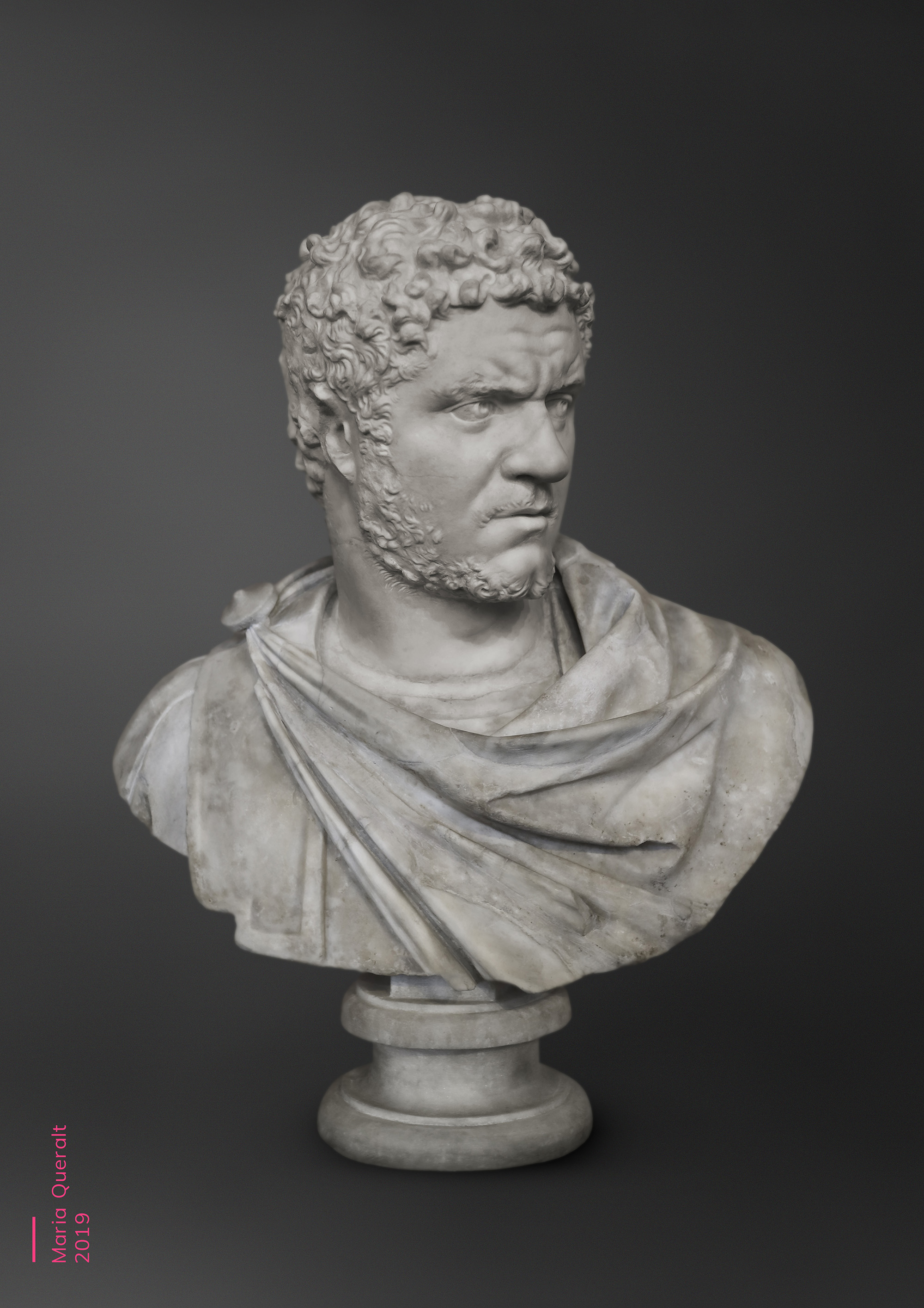 Sculpture of Roman Emperor Caracalla, Louvre Museum, Paris. Part of the Ancient Influencers Photography series by Maria Queralt. Photography and retouche by Maria Queralt