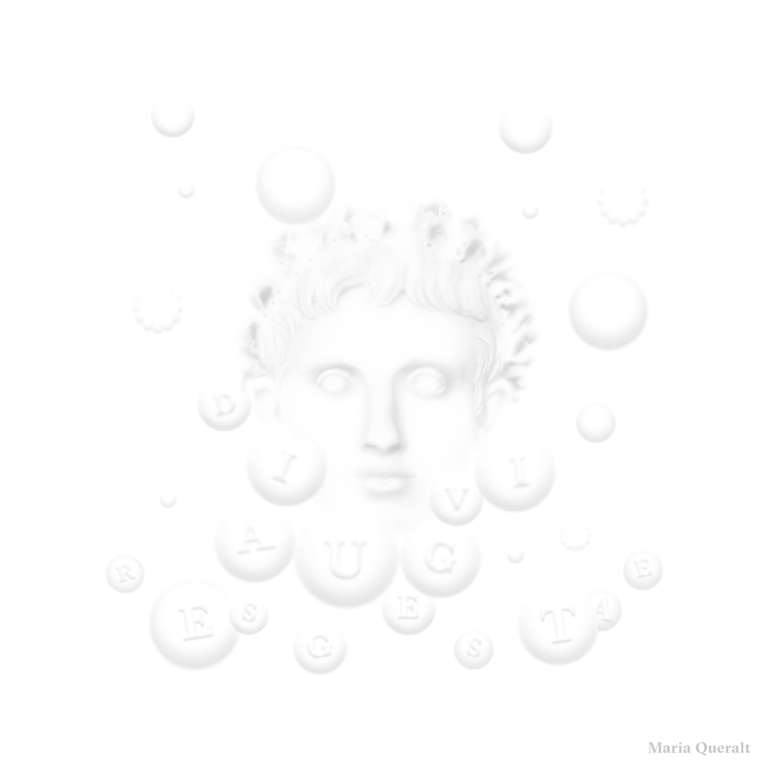 Digital art work of Roman Emperor Augustus in black and white with white bubbles around him, based on the portrait sculpture in marble of roman emperor Augustus at the Louvre Museum in Paris and inspired by the Res Gestae. Photography, concept, design and retouch by Maria Queralt