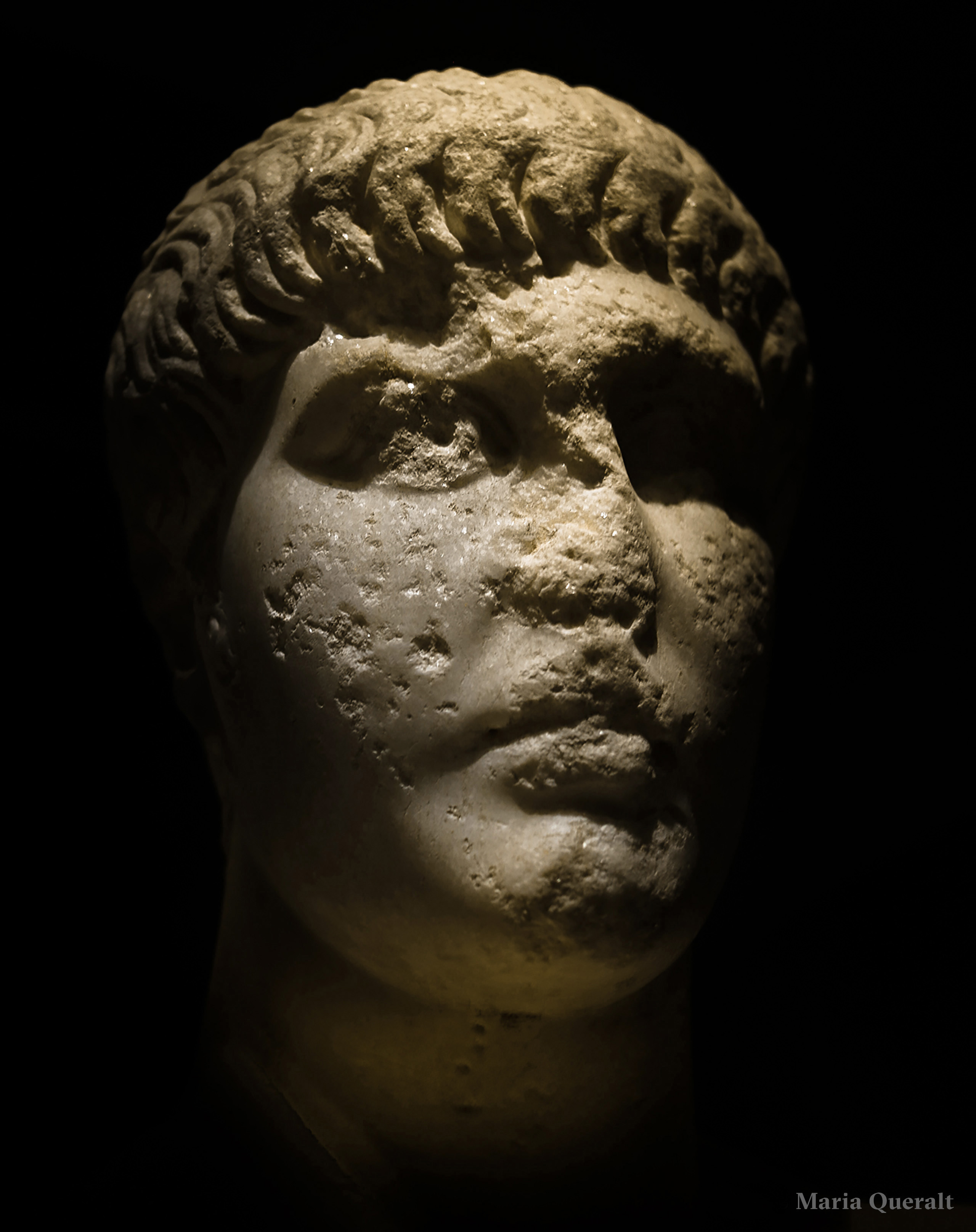 Digital art work of the marble sculpture of roman emperor Domitian, Caesar Augusta, Museo Provincial de Zaragoza, Spain. Photography, concept, design and retouch by Maria Queralt
