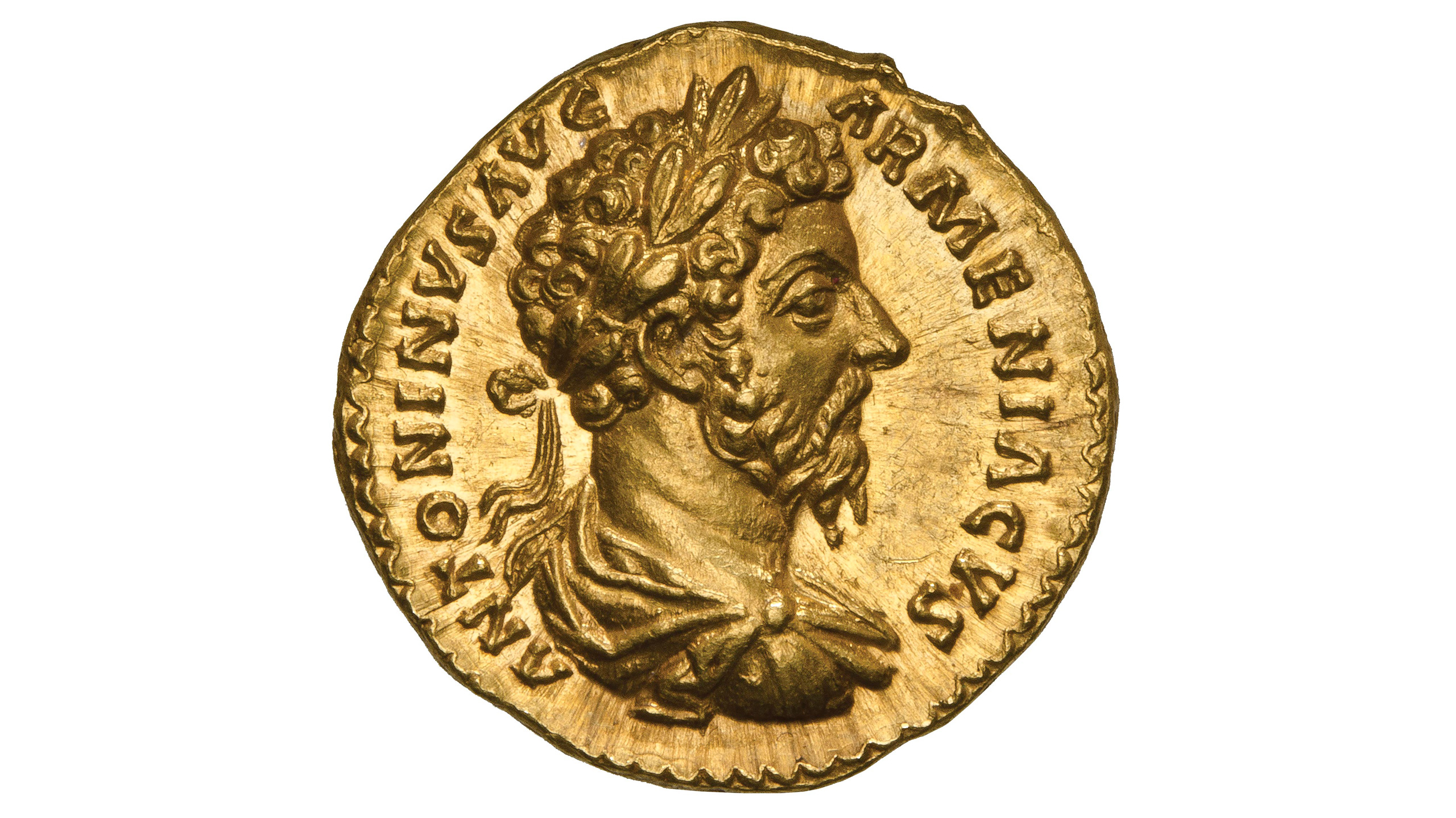 Photography of roman Coin in gold from the emperor Marcus Aurelius, photographed for Morton and Eden in association with Sotheby's sold in auction in London Photography and retouch by Maria Queralt