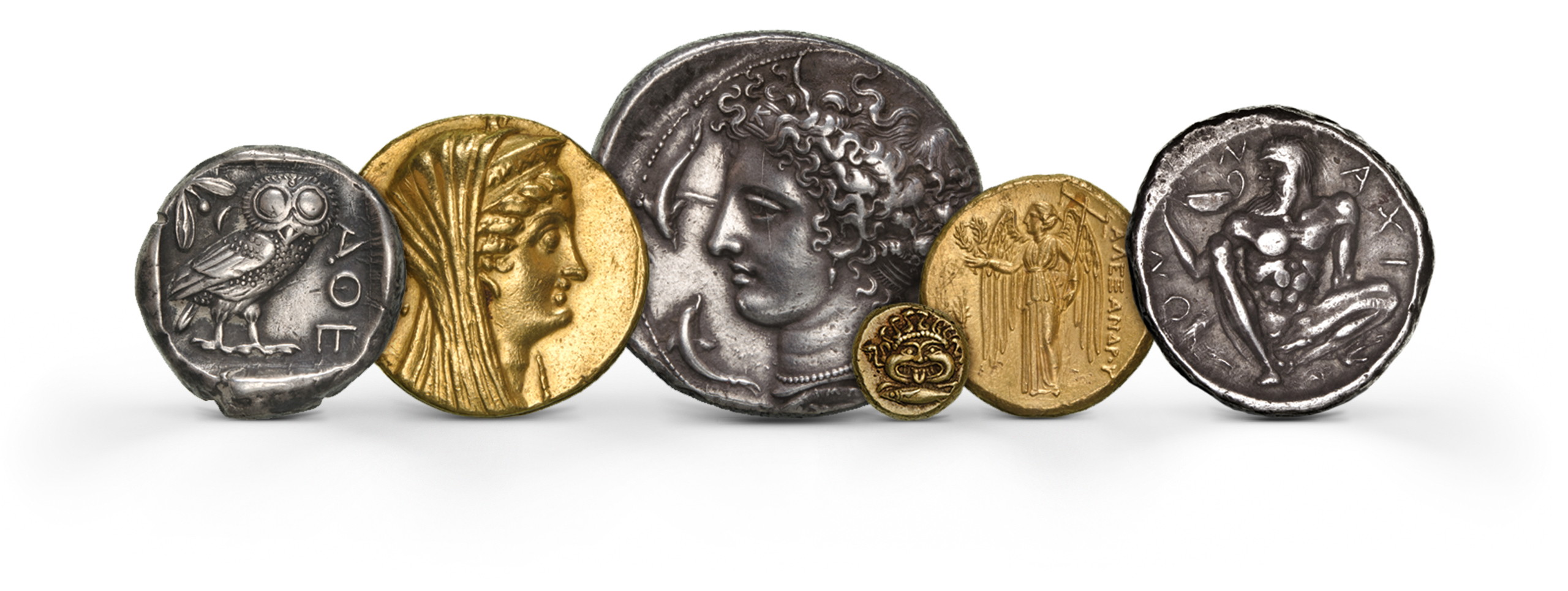 Photography of Greek Coins in gold and silver from several periods, photographed for Morton and Eden in association with Sotheby's sold in auction in London Photography and retouch by Maria Queralt