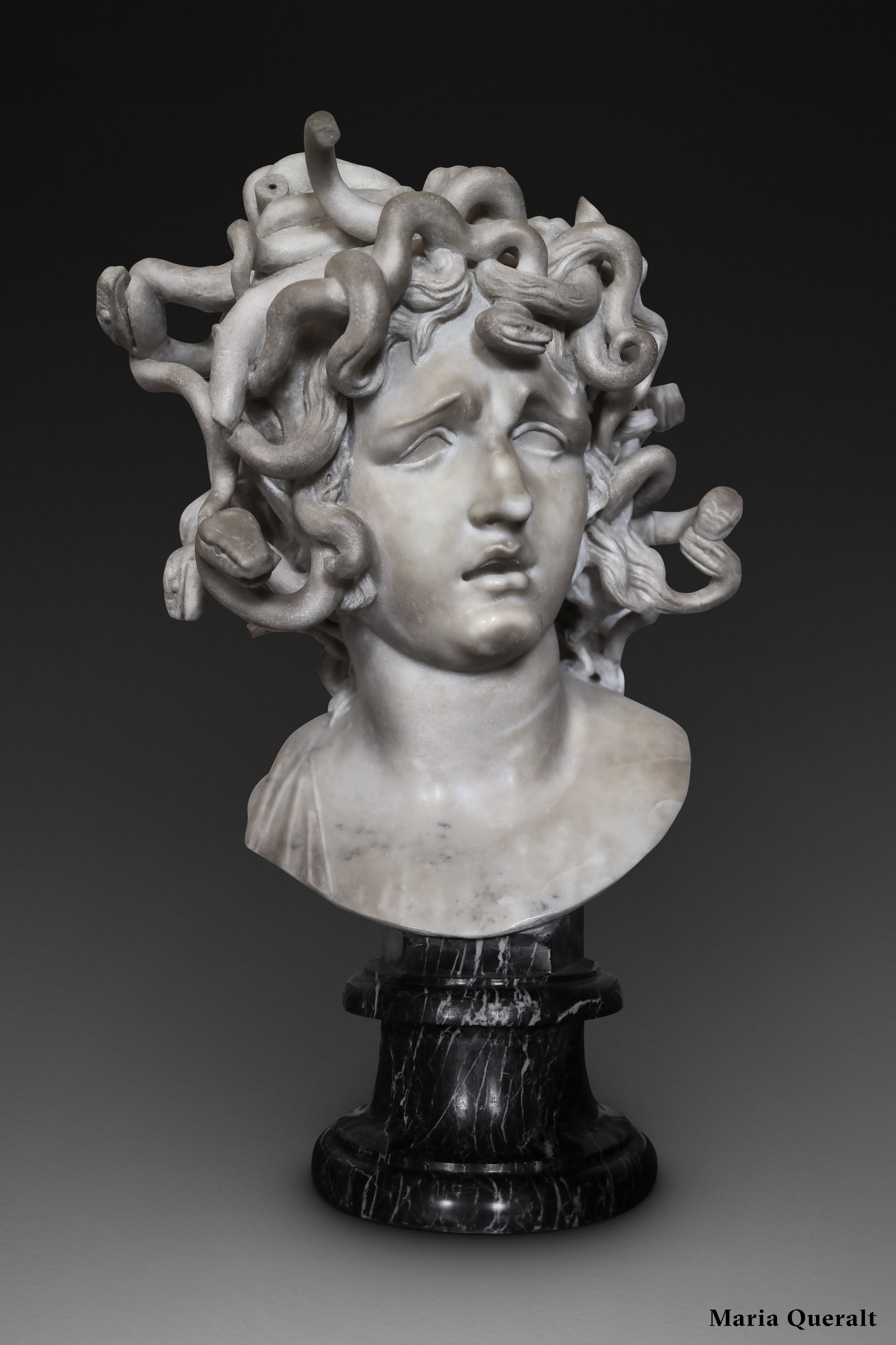 Marble sculpture of Medusa by Gian Lorenzo Bernini at the Capitoline Museums in Rome Photography and retouch by Maria Queralt
