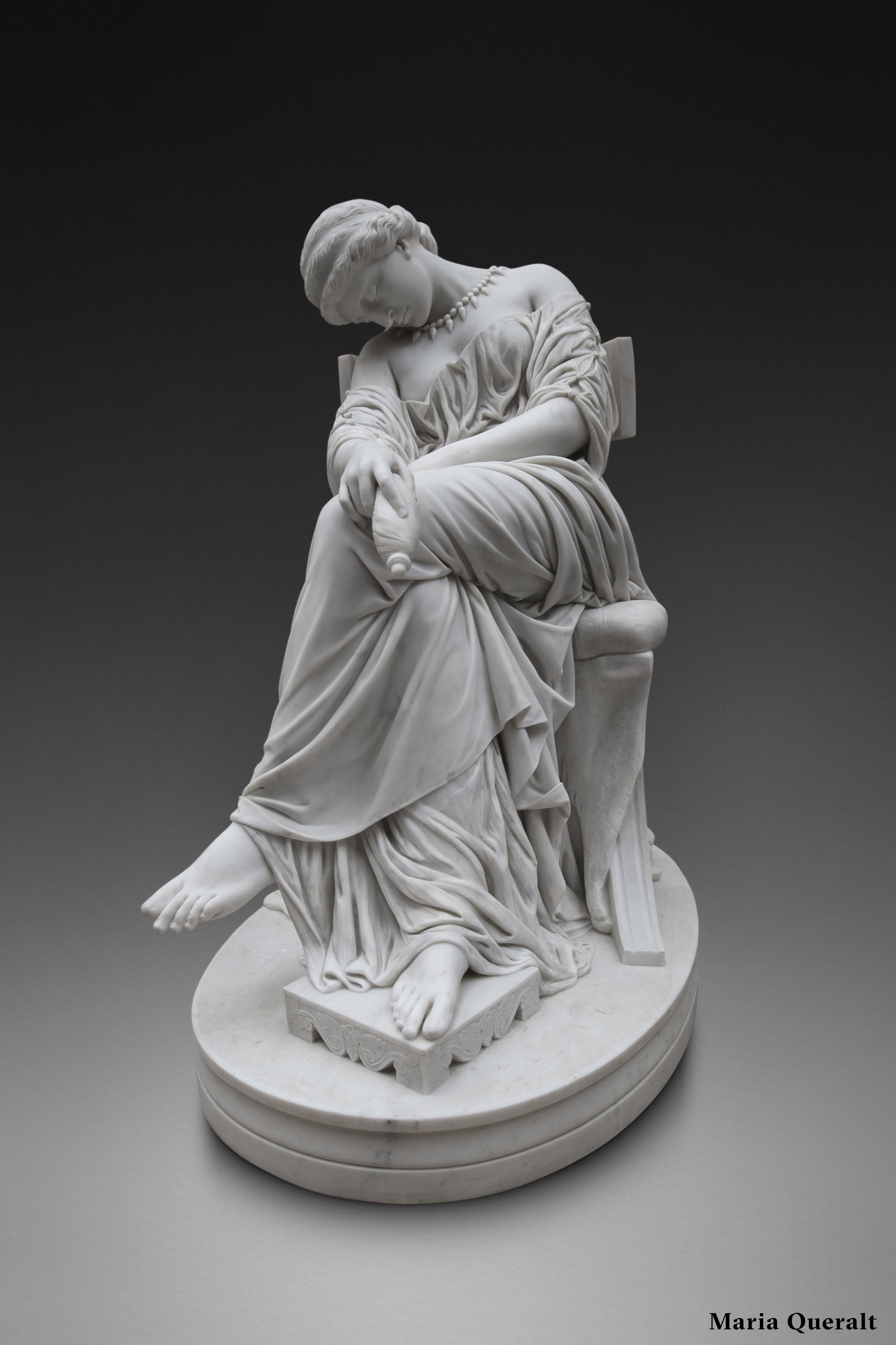 Sculpture in marble of Penelope Asleep by Jules Cavelier in the D'Orsay Museum in Paris Photography and retouch by Maria Queralt