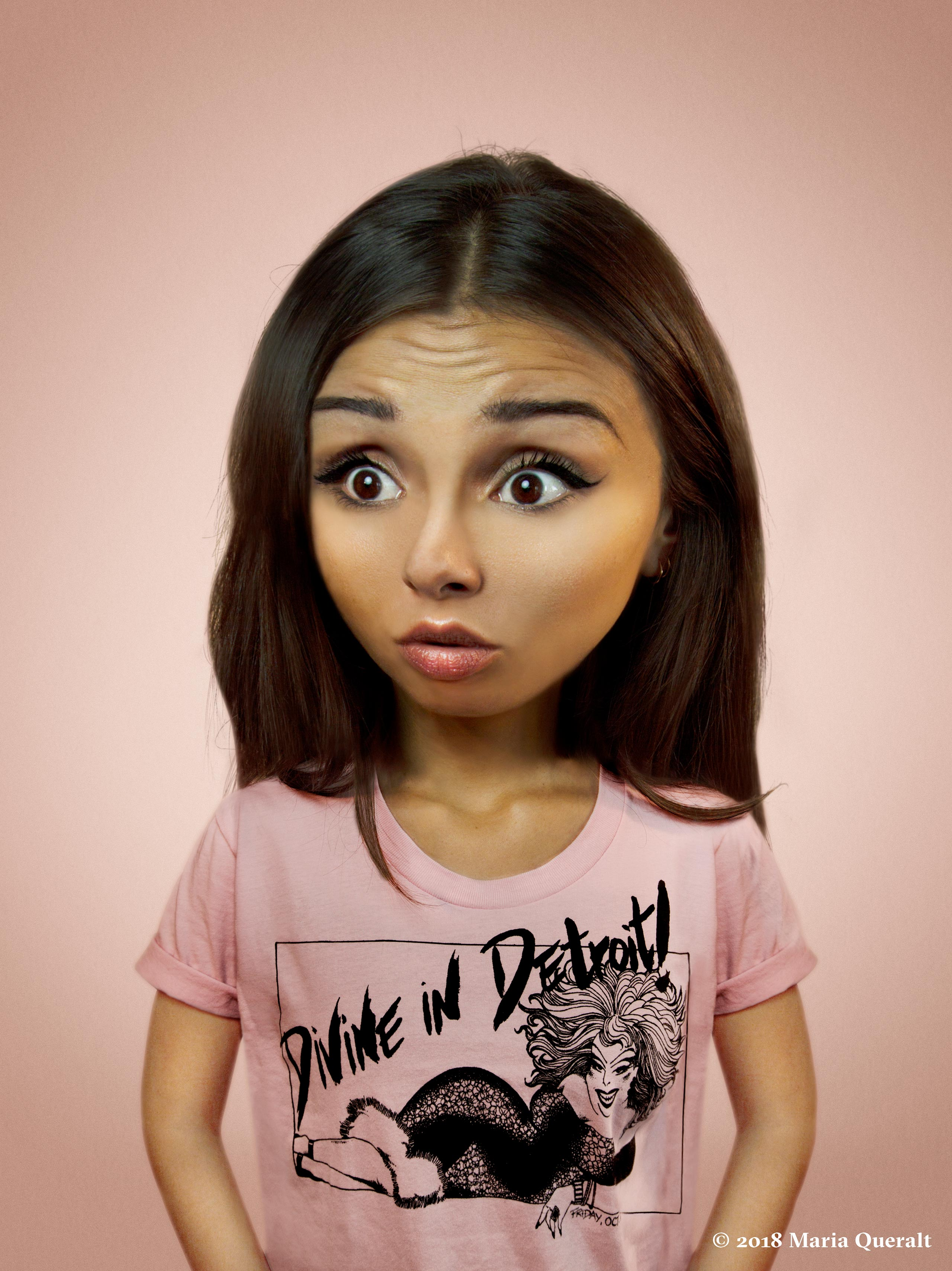 Self portrait of photographer and artist Maria Queralt with facial features retouched as a little girl with pink Divine in Detroit t-shirt on pink background. Photography and retouch by Maria Queralt. Paris, France